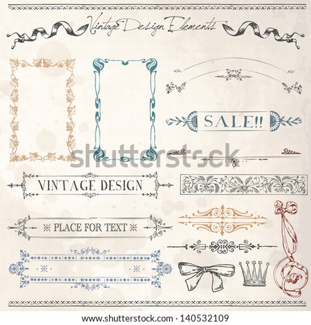 Vintage Ribbons, Frames and design elements with old paper texture - stock vector