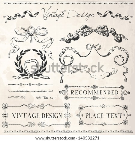 Vintage Ribbons, Frames and design elements with old paper texture