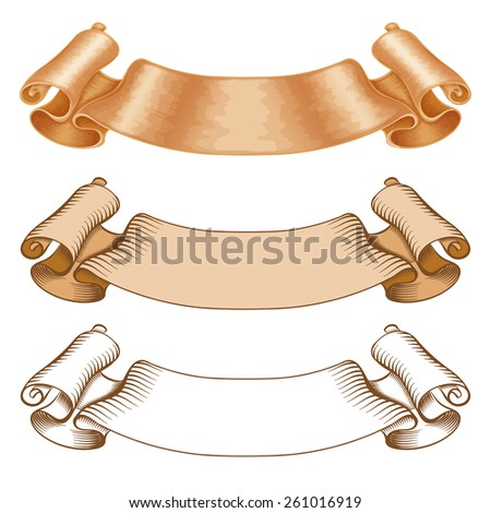 Vintage ribbons or banners for your design isolated on a white background - stock vector