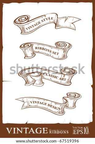 Vintage ribbons set. Banners for your design. Dirty old school hand drawn illustration. Layered. Vector EPS 10 illustration. - stock vector