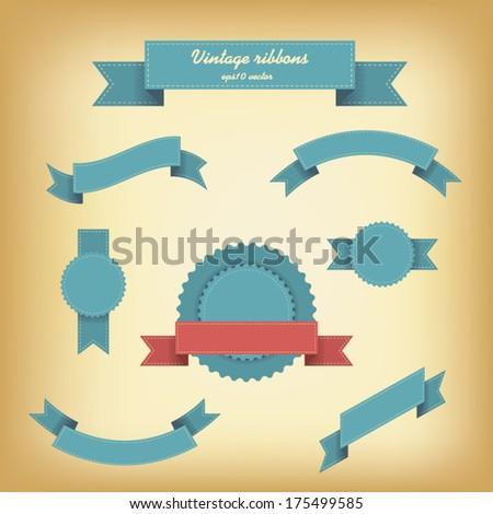 Vintage ribbons set for websites or quality badges. Eps10 vector illustration - stock vector