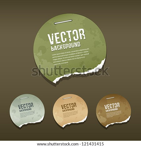 Vintage Ripped label circle paper design background, vector illustration - stock vector