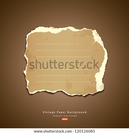 Vintage Ripped paper, vector illustration - stock vector