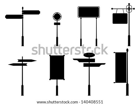 Vintage road signs. Set of black silhouettes on white background. Place for any text. - stock vector
