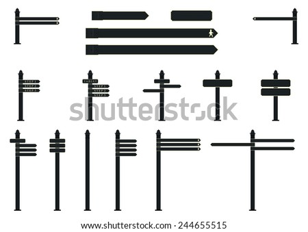 Vintage road signs. Set of vector objects for further editing. - stock vector
