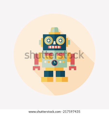 vintage robot flat icon with long shadow,eps 10 - stock vector