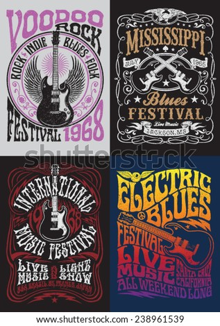 Vintage Rock Poster T-shirt Design Set - stock vector