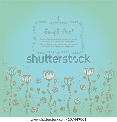 Vintage romantic background with lotus flowers, floral design template for card with place for your text - stock vector
