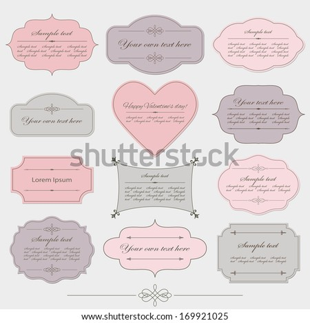 Vintage romantic frames set in pink, grey and purple colors. Can be used for Valentine's day design. - stock vector
