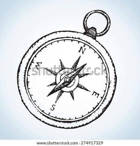 Vintage romantic naval grunge pocket Compass with star wind rose. Vector monochrome freehand linear ink drawn background sketch in art scribble style pen on paper. View close-up with space for text - stock vector