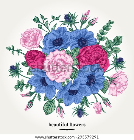 Vintage romantic vector background with a bouquet of roses, anemones. Botanical illustration.