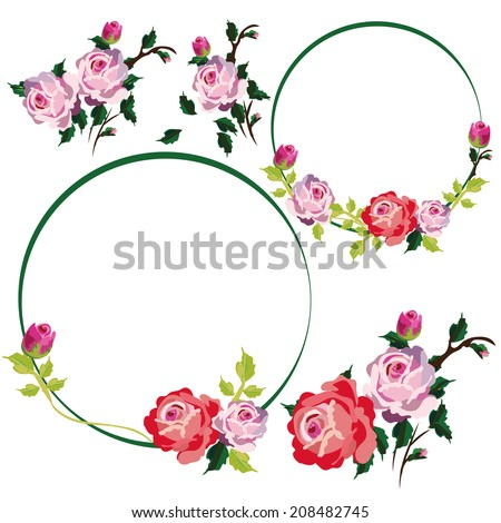 Vintage Rose Flower Vines and frames borders vector
