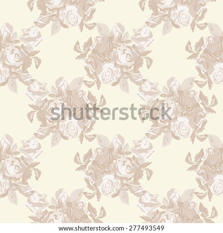 Vintage Roses Seamless Pattern - stock vector