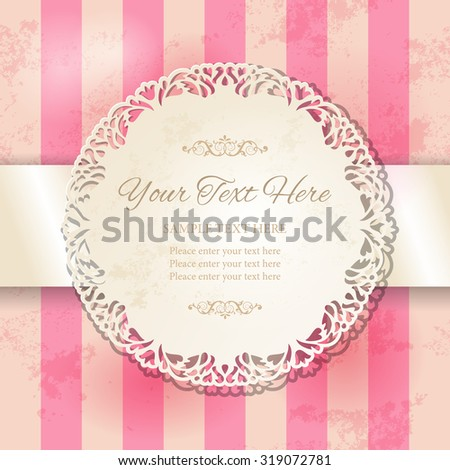 Vintage round lacy ornamental frame on striped pink background. Cutout doily with stained worn old paper texture. Vector illustration EPS10 - stock vector