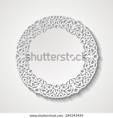 Vintage round lacy ornamental frame. Paper cut design. Vector illustration EPS10 - stock vector