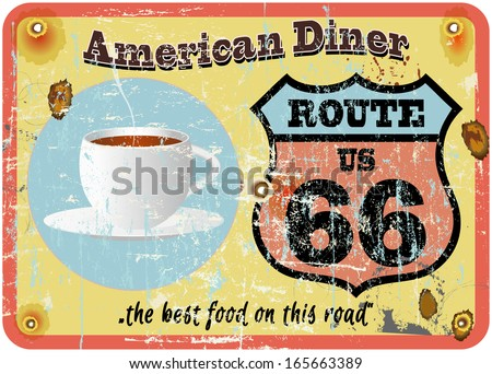 vintage route 66 diner sign, retro style, vector illustration - stock vector