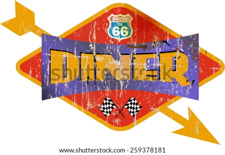 Vintage route 66 diner sign, vector illustration - stock vector