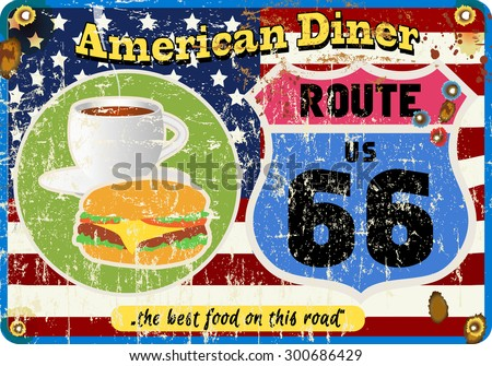 vintage route sixty six diner sign, retro style, fictional artwork,vector illustration - stock vector