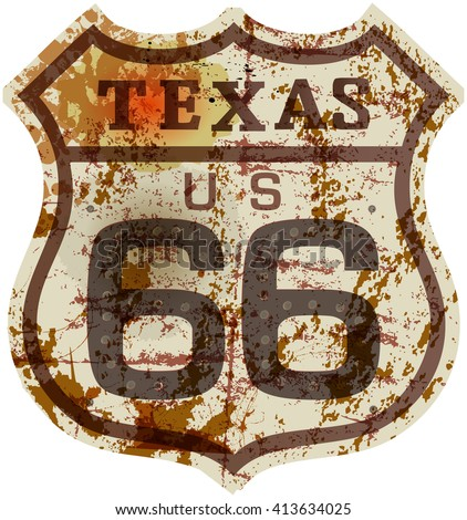 vintage route sixty six road sign, retro style, grungy vector illustration - stock vector