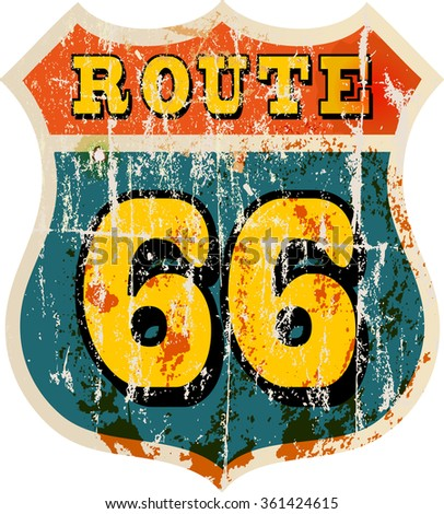 vintage route sixty six road sign, retro style, vector illustration,fictional artwork - stock vector