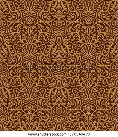 Vintage royal background, creative rich style ornaments, drawn ornamental seamless pattern, decorative vector wallpaper, fashion fabric and wrapping paper with swirling elements for design - stock vector