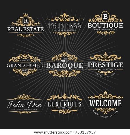 Vintage royal flourish frame logo decorative stock vector 750157957 vintage royal flourish frame logo decorative design for banner sticker label tags stopboris Images