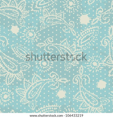 Vintage rubber stamped paisley elements seamless pattern. Vector illustration