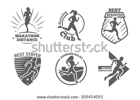 Vintage running club vector labels and emblems. Athletic silhouette training, athlete run illustration - stock vector