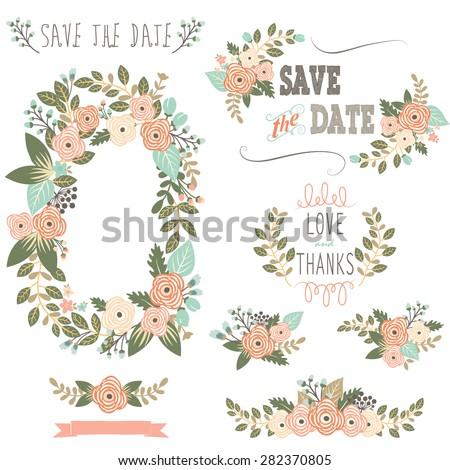 Vintage Rustic Floral Wreath - stock vector