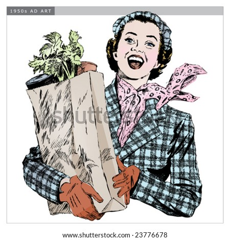 Vintage 1950s Woman with Groceries; Detailed black and white from authentic hand-drawn scratchboard includes full colorization. - stock vector