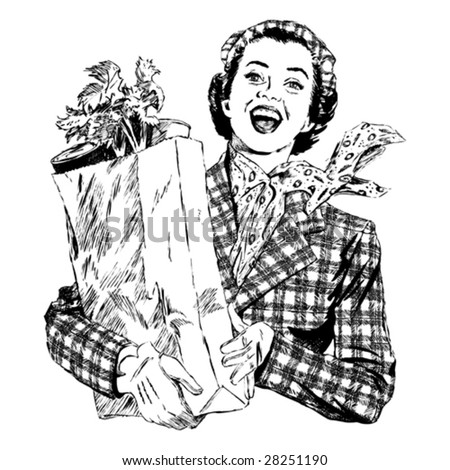 Vintage 1950s Woman with Groceries; Detailed black and white from authentic hand-drawn scratchboard. - stock vector