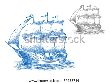 Vintage sail ship in ocean under full sail with flags on masts, for marine adventure or nautical theme design. Sketch image - stock vector
