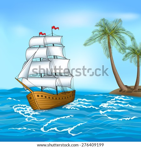vintage sailing ship in the sea against the backdrop of palm trees and sky - stock vector