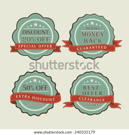 Vintage sale and discount offer label, tag or sticker with ribbon. - stock vector