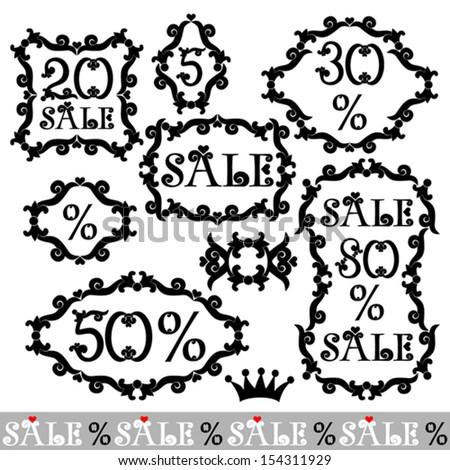 Vintage Sale frame label set template,Vector illustration - stock vector