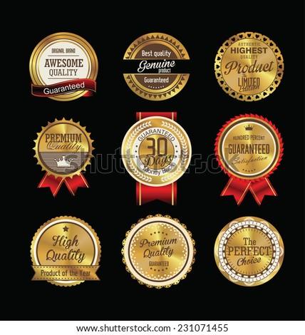 Vintage sale golden labels collection design elements, Premium quality - stock vector