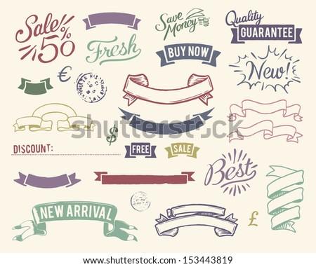 Vintage sale graphic elements set - stock vector