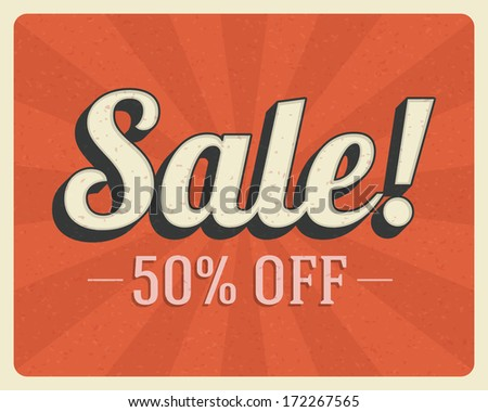Vintage sale vector background. Retro style. - stock vector