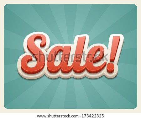 Vintage sale vector background. Retro style.  - stock vector