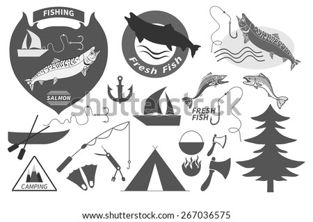 Vintage salmon fishing emblem and graphic design elements set, camping equipment symbols and icons, isolated black on white - stock vector