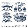 Vintage Salmon Fishing emblems, labels and design elements.Vector illustration.
