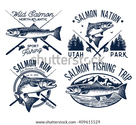 Vintage Salmon Fishing emblems, labels and design elements.  Vector illustration. - stock vector