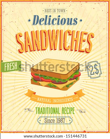 Vintage Sandwiches Poster. Vector illustration. - stock vector