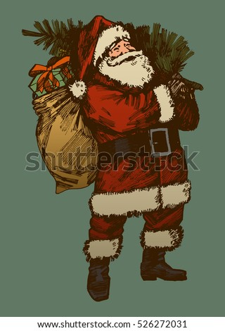 vintage santa claus drawing. retro card colors santa. old fashioned christmas vector image.