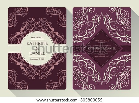 Vintage save the date or wedding invitation card collection with calligraphic decorative elements - stock vector