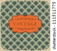 Vintage scale pattern with retro label. Vector, EPS10 - stock vector