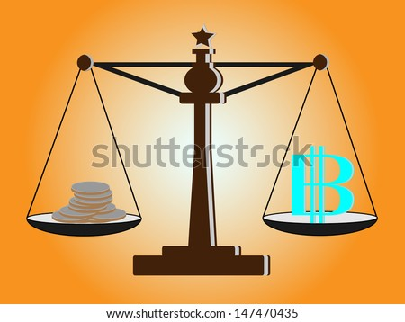 Vintage scales with baht sign and coins on balance scale - stock vector