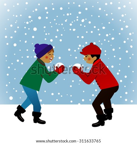 Vintage scene with kids having a snowball fight in the snowfall  - stock vector