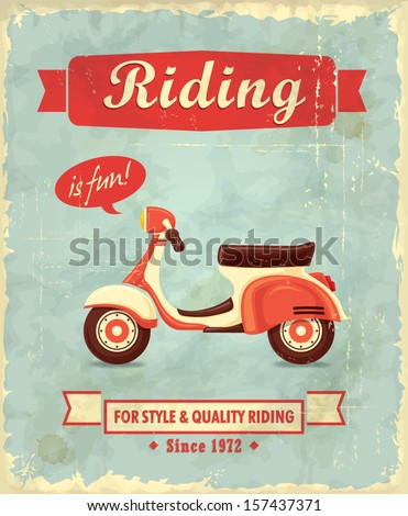 Vintage scooter poster design - stock vector