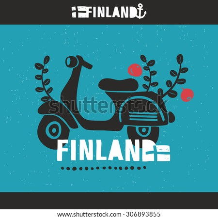 Vintage scooter, traveling in Finland. Vector label of Suomi. - stock vector